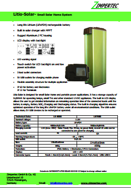 Datasheet Zimpertec battery